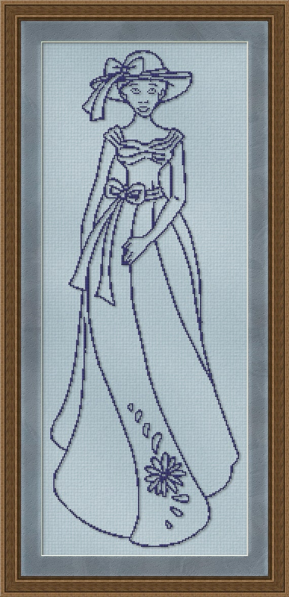 Counted Cross Stitch Pattern Southern Belle Design - Instant Download pdf