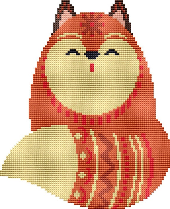 Cross Stitch Pattern - Snowflake Fox - Instant Download PDF