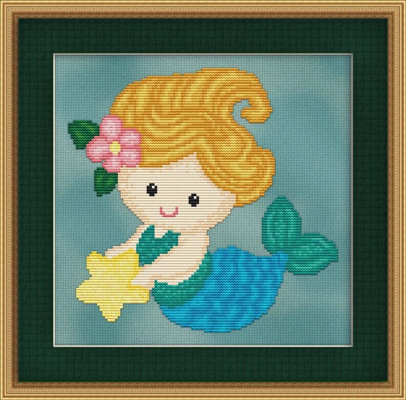 Cross Stitch Pattern Sweet Little Mermaid Design Instant image 0