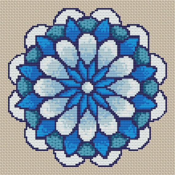 Cross Stitch Pattern Winter Flower Mandala Instant Download PdF