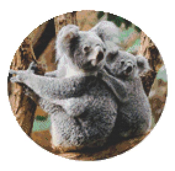 Cross Stitch Pattern Two Koala Bears Instant Download PDF