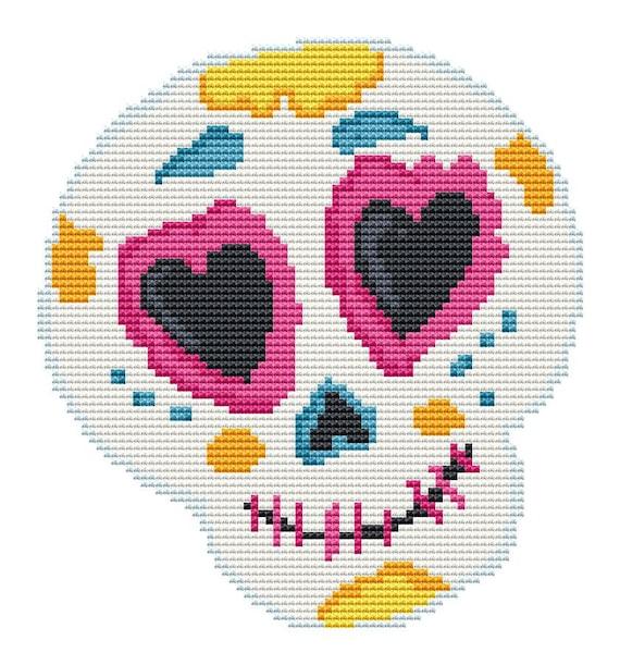 Cross Stitch Pattern Cute Halloween Skull Instant Download PDF