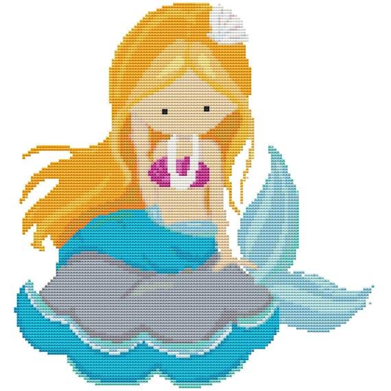 Cross Stitch Pattern - Mermaid Girl - Instant Download PDF