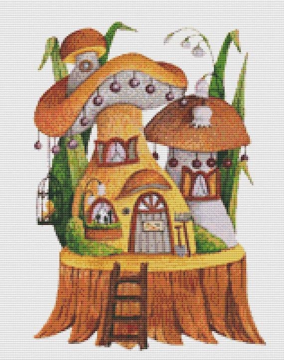 Cross Stitch Pattern Mushroom Stump Instant Download PDF