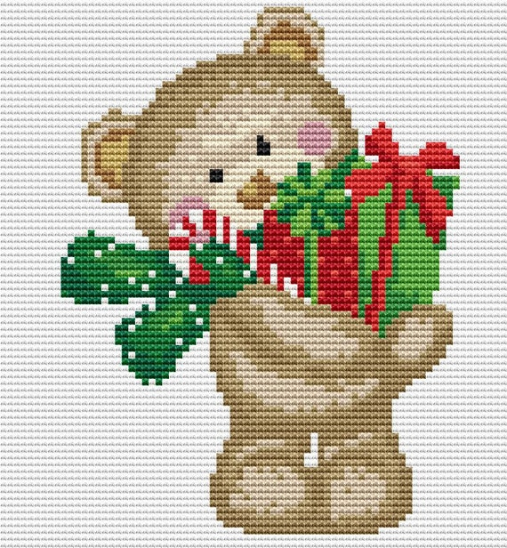 Cross Stitch Pattern Christmas Bear With Gifts Instant Download PDF
