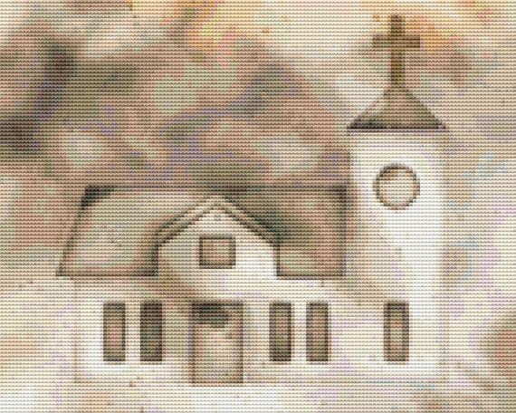 Cross Stitch Pattern Vintage Church Painting Instant Download PDF