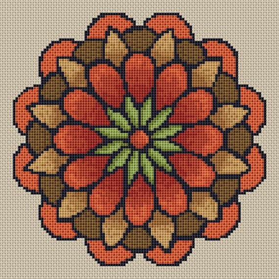 Cross Stitch Pattern Fall Flower Mandala Instant Download PdF