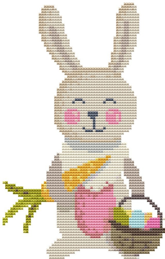 Cross Stitch Pattern - Bunny With Basket - Instant Download PDF