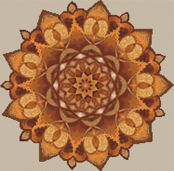 Cross Stitch Pattern Brown Mandala Instant Download PdF