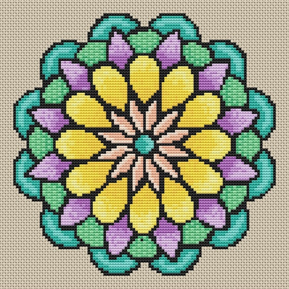 Cross Stitch Pattern Spring Flower Mandala Instant Download PdF