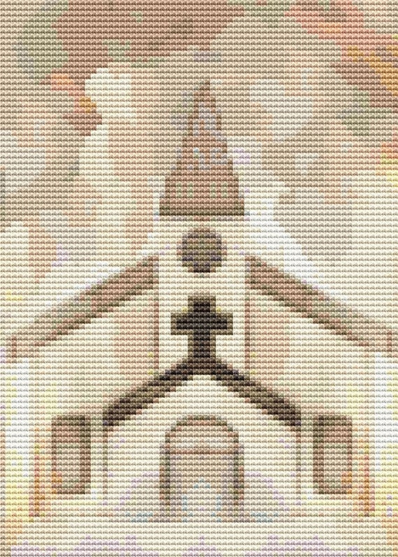 Cross Stitch Pattern Antique Church Painting Instant Download PDF