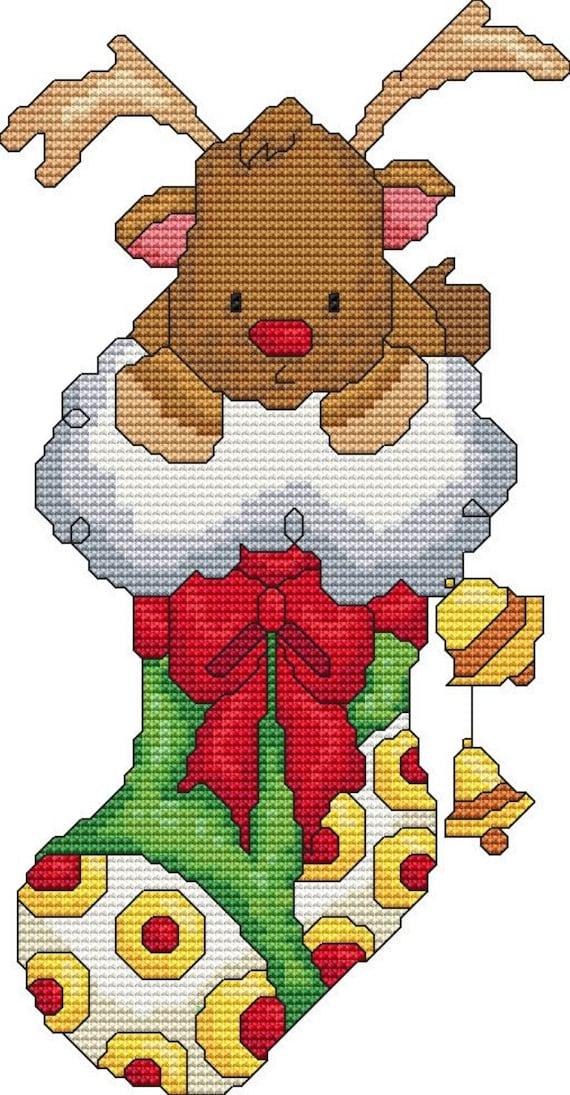 Cross Stitch Pattern Reindeer Stocking Instant Download PDF