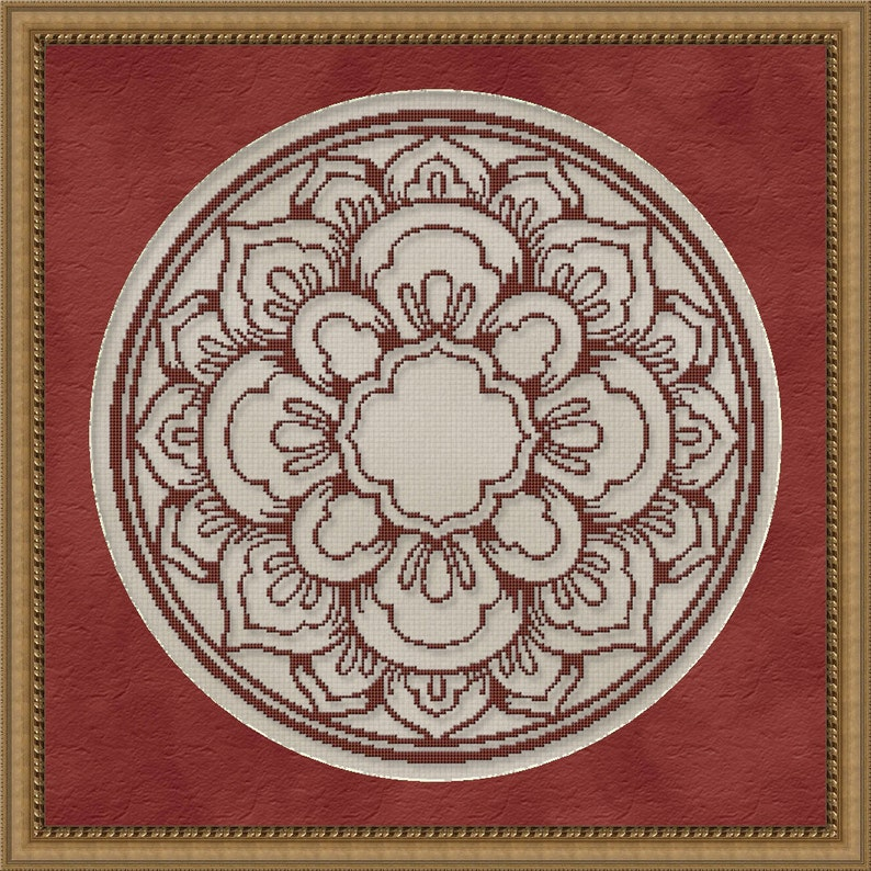 Cross Stitch Pattern Floral Medallion Monochrome No. 1 Single image 0
