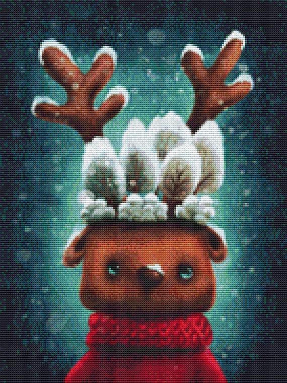 Cross Stitch Pattern - Cute Reindeer - Instant Download PDF
