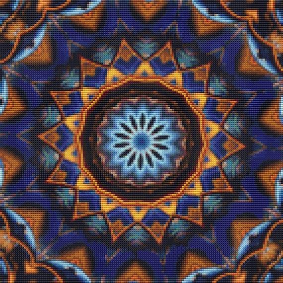 Cross Stitch Pattern Gold and Blue Mandala Instant Download PDF