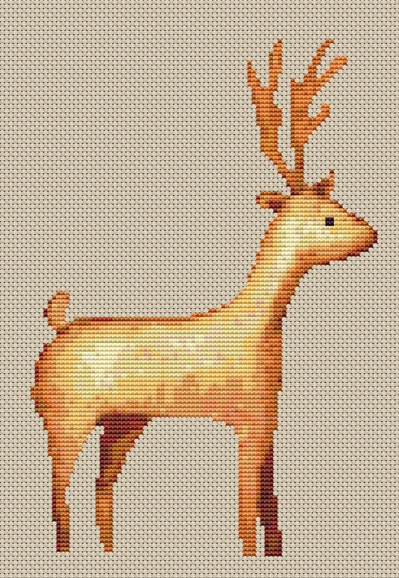 Cross Stitch Pattern - Reindeer - Instant Download PDF