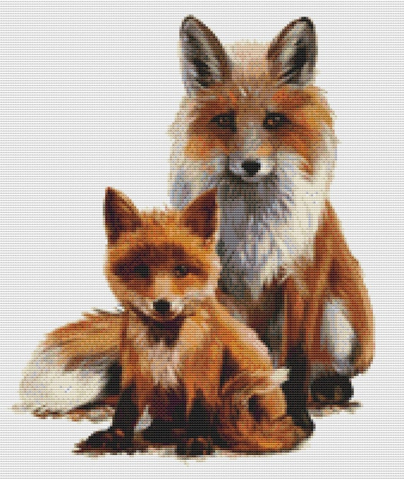 Cross Stitch Pattern - Fox Baby and Mama - Instant Download PDF
