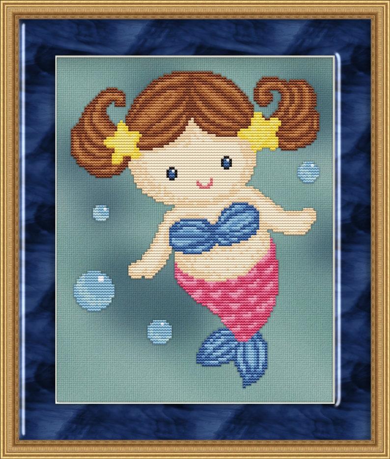 Cross Stitch Pattern Sweet Little Mermaid 4 Design Instant image 0