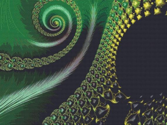Cross Stitch Pattern Green Spiral Fractal Instant Download PDF