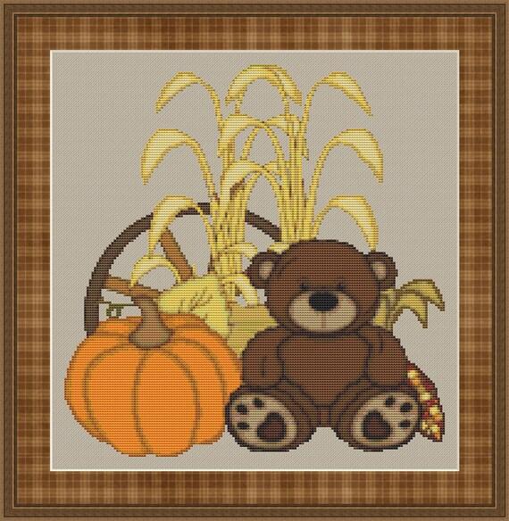 Fall Teddy Bear Cross Stitch Pattern / Design Pumpkins Autumn Wheat Thanksgiving Decoration