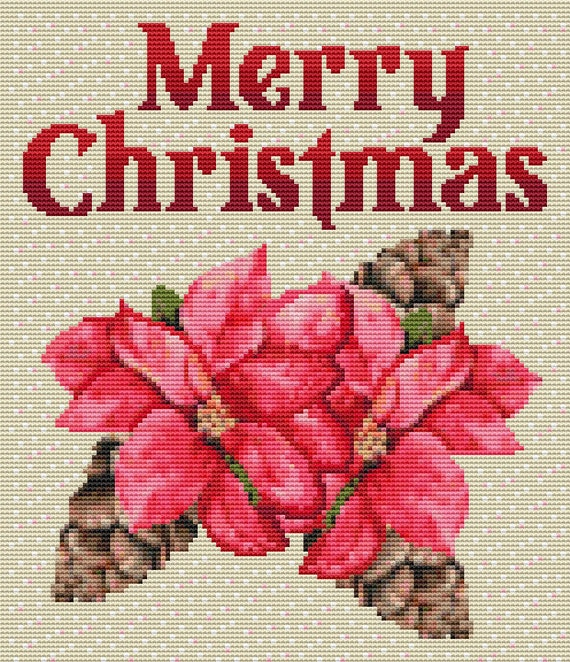 Cross Stitch Pattern Christmas Poinsettia Instant Download PDF