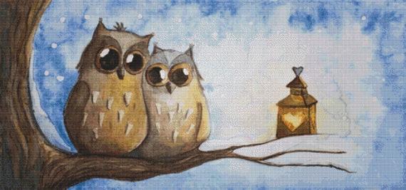 Cross Stitch Pattern - Owl Couple - Instant Download PDF
