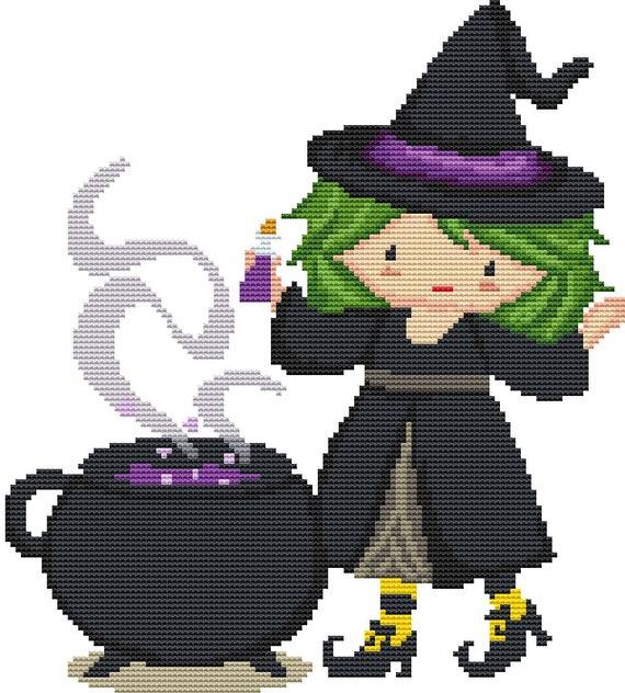 Cross Stitch Pattern Brewing Witch Instant Download PDF