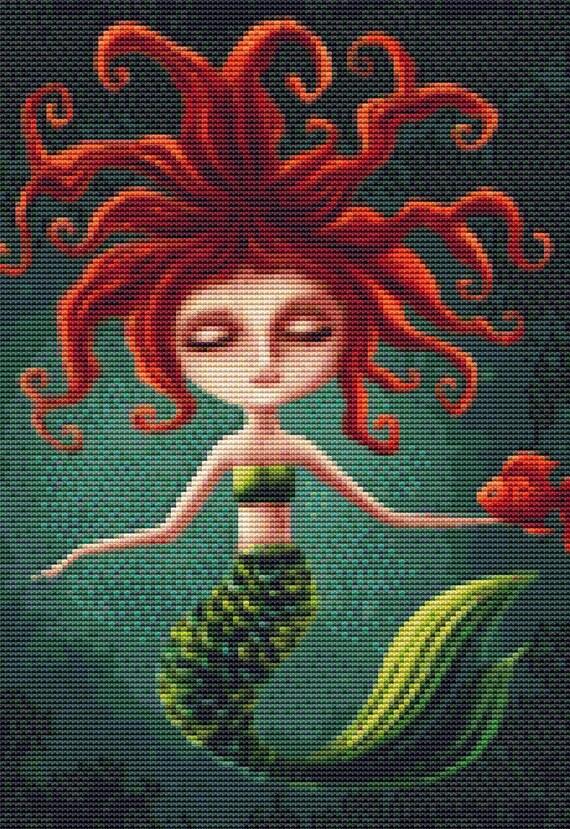 Cross Stitch Pattern Wild Haired Mermaid Instant Download PDF