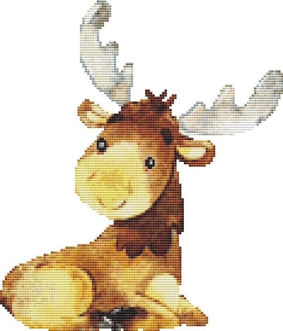 Cross Stitch Pattern Baby Moose Instant Download PDF