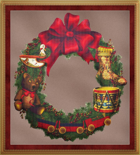 Cross Stitch Pattern Toys Wreath Cross Stitch Pattern / Design