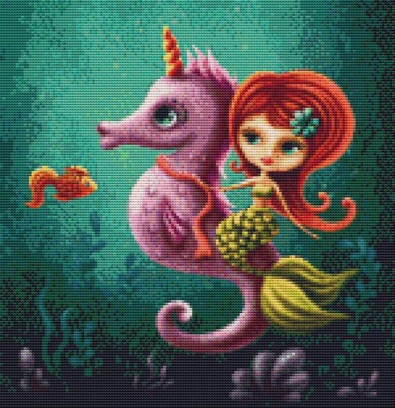 Cross Stitch Pattern - Mermaid Sea Unicorn - Instant Download PDF