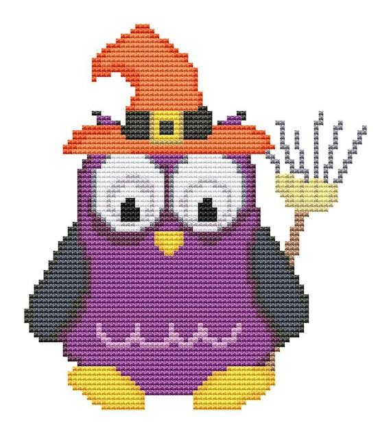 Cross Stitch Pattern Purple Halloween Owl Instant Download PDF