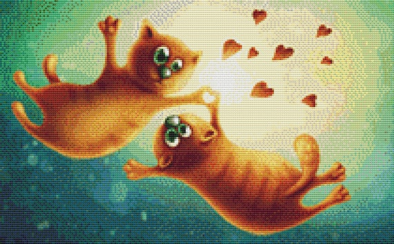 Cross Stitch Pattern - Kitty Love - Instant Download PDF