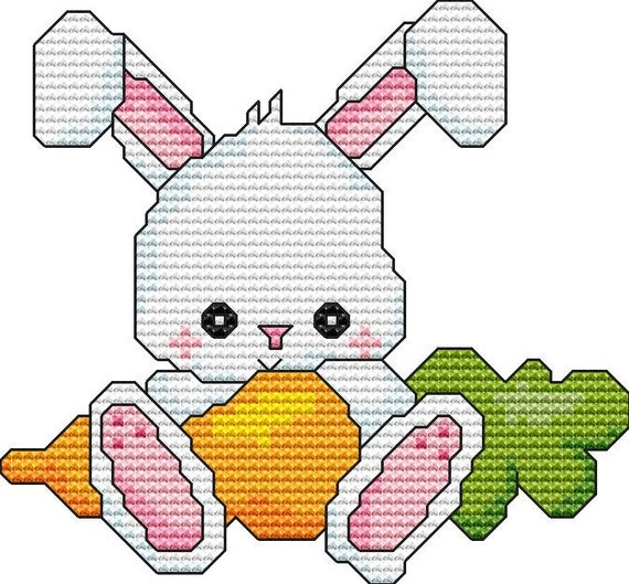 Cross Stitch Pattern Bunny With Carrot Instant Download PDF