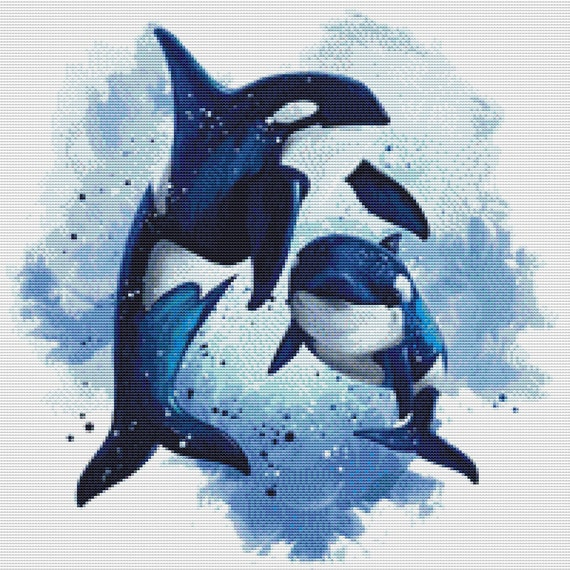 Cross Stitch Pattern Two Killer Whales Instant Download PDF
