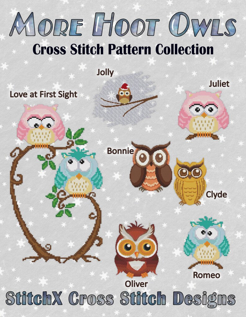 Counted Cross Stitch Pattern More Hoot Owls Collection Super image 0