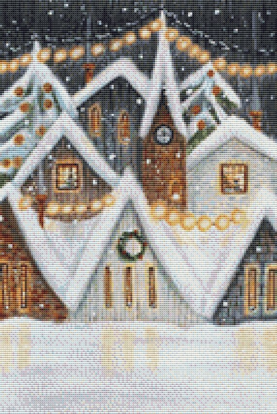 Cross Stitch Pattern Snowy Neighborhood Instant Download PDF