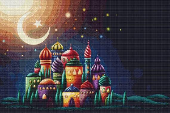 Cross Stitch Pattern Nighttime Palace Instant Download PDF
