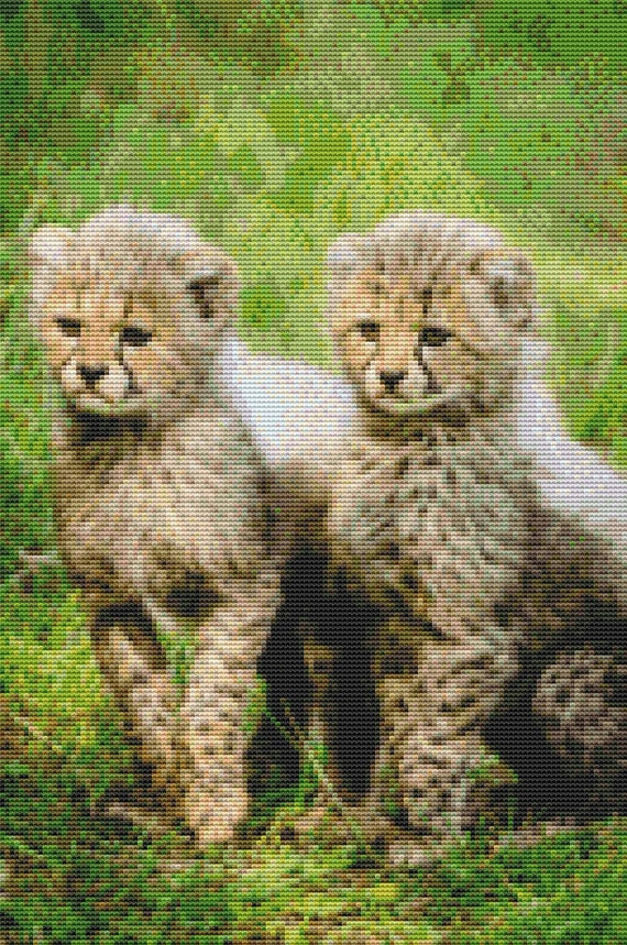 Cross Stitch Pattern Pair of Baby Cheetahs Instant Download PDF