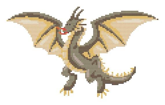 Cross Stitch Pattern Dragon Instant Download PDF