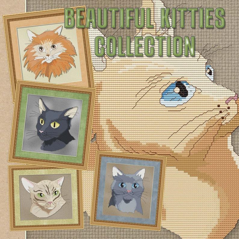 Counted Cross Stitch Patterns Five Beautiful Kitty Cats image 0