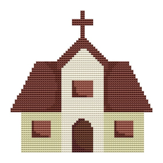 Cross Stitch Pattern Church 5 Instant Download PDF