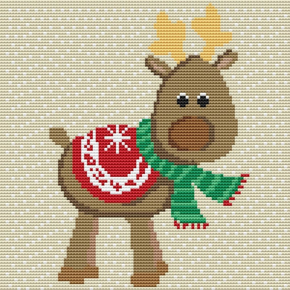 Cross Stitch Pattern Cute Christmas Reindeer Instant Download PDF