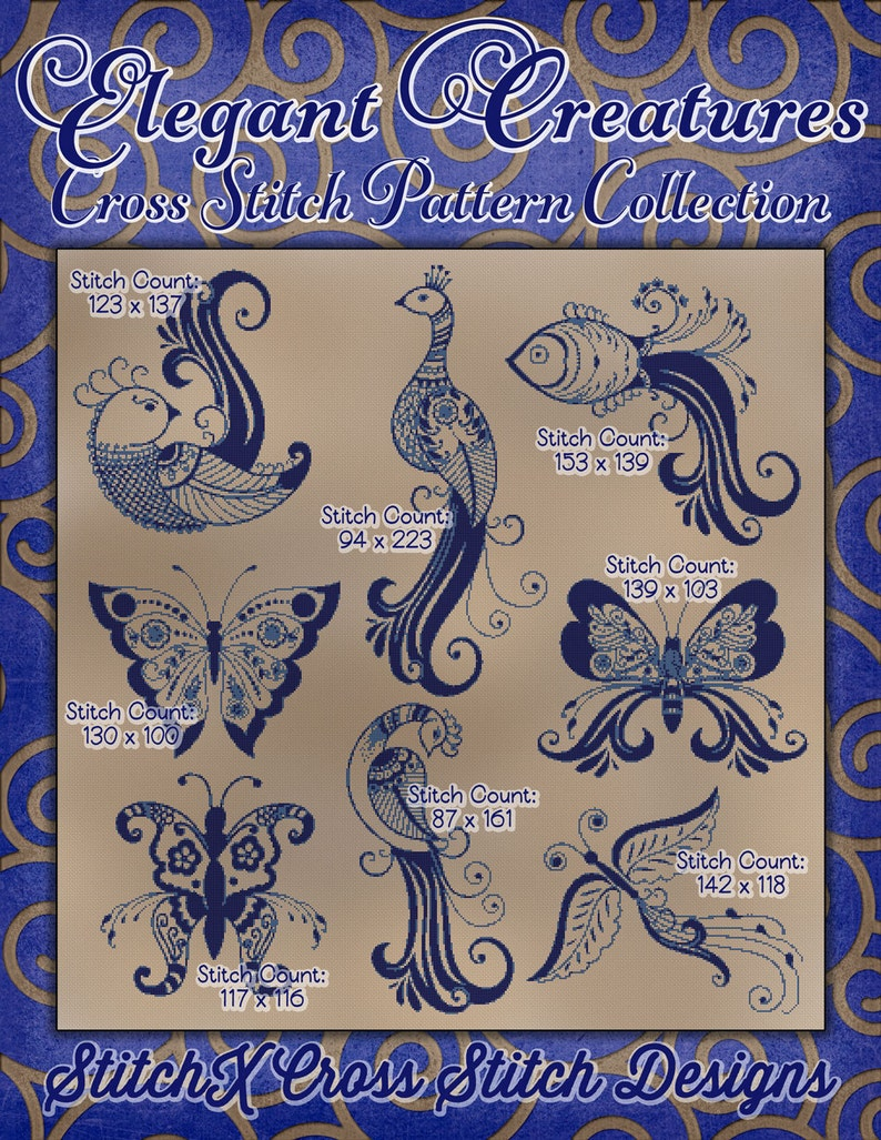 Counted Cross Stitch Patterns Elegant Creatures Collection image 0