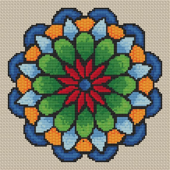 Cross Stitch Pattern Summer Flower Mandala Instant Download PdF