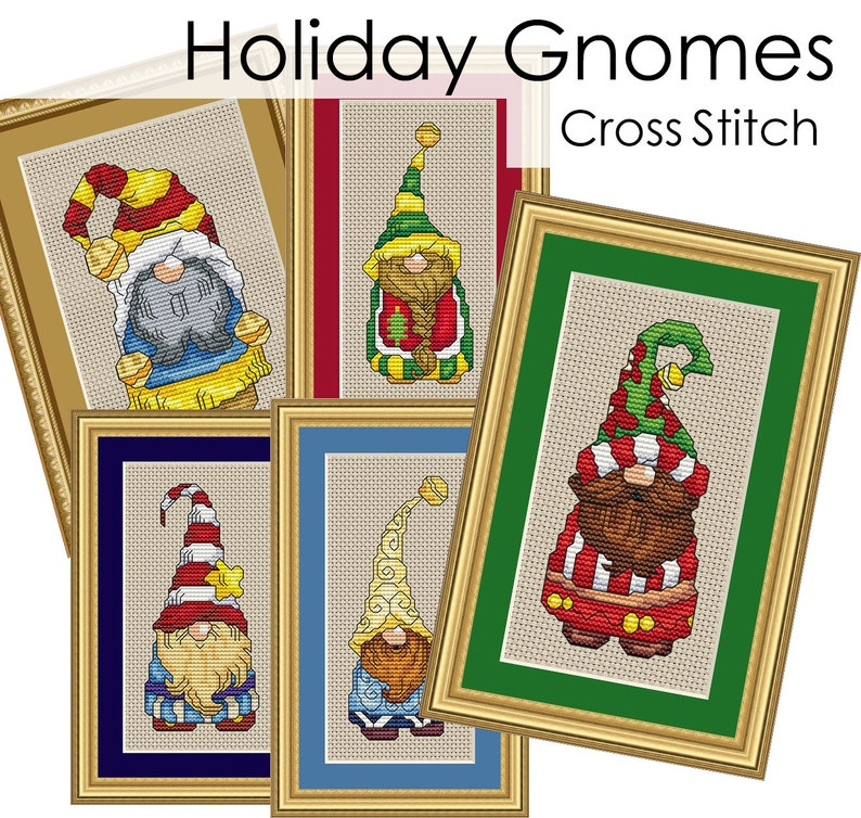 Holiday Gnomes Complete Collection Cross Stitch Patterns Fun image 0
