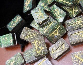 Geode Glitter Elder Futhark Divination Rune Set