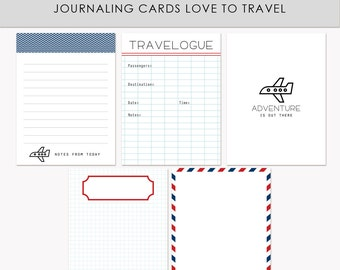 Printable Journaling Cards Love to travel for Scrapbook and Project Life INSTANT DOWNLOAD
