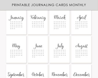 """Printable Journaling Cards """"Monthly"""" for Scrapbook and Project Life INSTANT DOWNLOAD"""