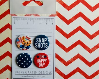 """Badges / Flair Buttons """"American Summer"""" - Project Life - 4th July - Patriotic - Scrapooking"""